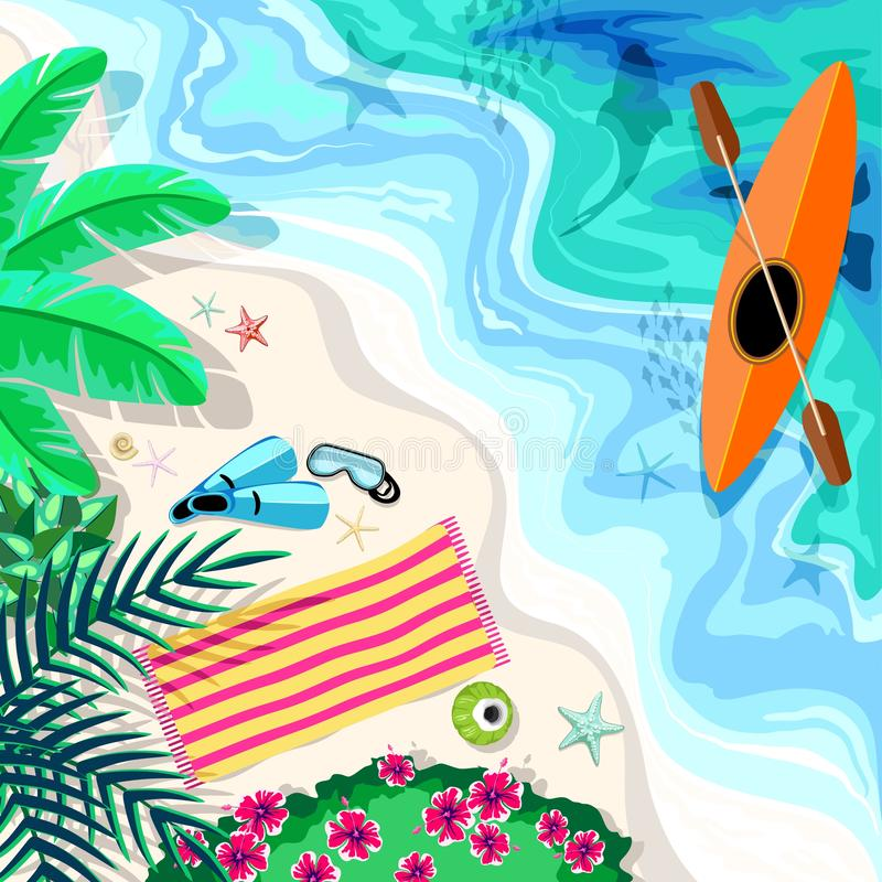 Tropical Beach Aerial Drone View Snorkeling und Kayak Elements Vector Illustration stock abbildung