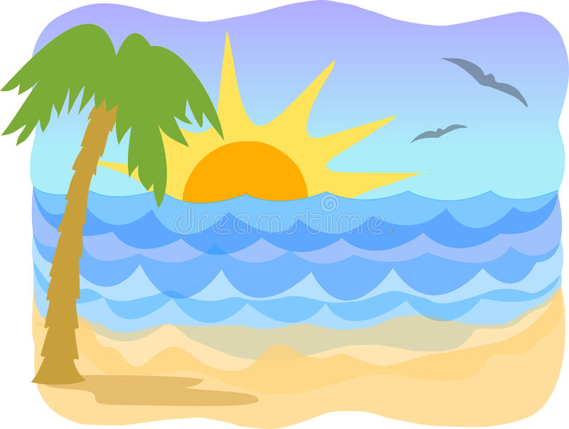 Tropical beach/ai. Illustration of a tropical beach scene with sunrise or sunset...ai file available