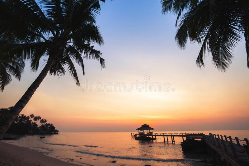 Tropical beach background, beautiful sunset landscape royalty free stock photos