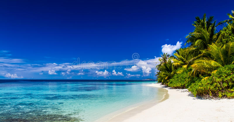 Tropical beach background. Crystal clear water and luxury water bungalows. Tropical tranquil background concept. style exotic scene stock photo