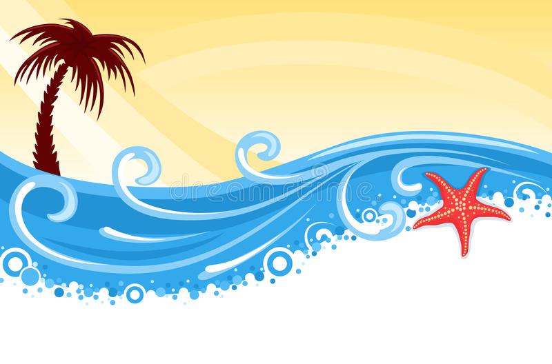 Tropical beach banner. Tropical beach with palm tree, star fish and blue ocean - summer banner. Vector illustration saved as EPS AI8, elements layered, grouped vector illustration