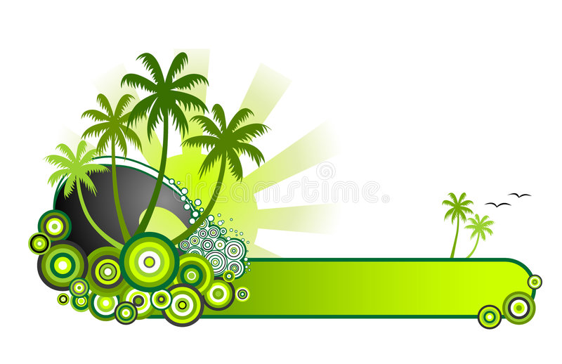 Tropical Beach Banner-Green. Retro style vector illustration of sea surf, palm trees and sunshine in a green colour theme. A red version is also available in my royalty free illustration