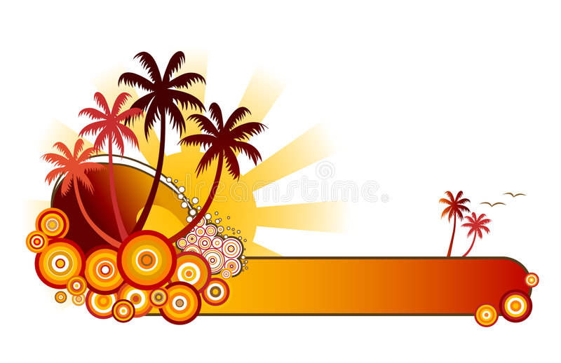 Tropical Beach Banner-Red. Retro style vector illustration of sea surf, palm trees and sunshine in a red colour theme. A green version is also available in my stock illustration