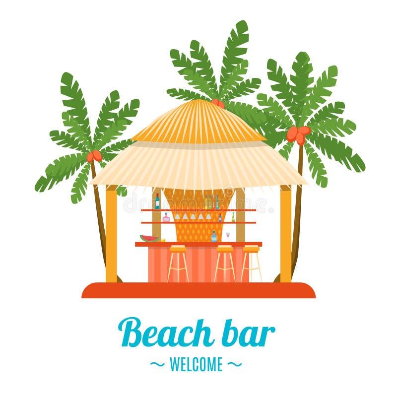 Tropical Beach Bar Banner Card. Vector. Tropical Beach Bar Banner Card Summer Holiday or Vacation. Flat Design Style. Vector illustration royalty free illustration