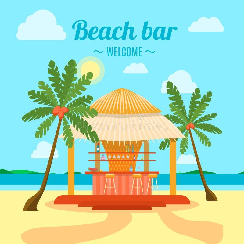 Tropical Beach Bar Banner Card. Vector. Tropical Beach Bar Banner Card Summer Holiday or Vacation. Symbol of Recreation Tourism Flat Design Style. Vector stock illustration