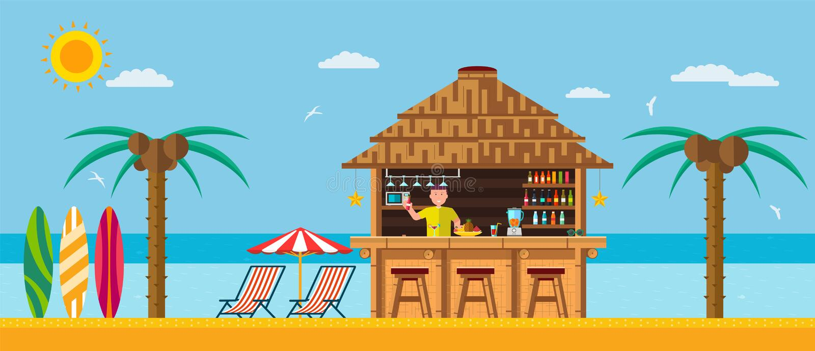 Tropical beach with a bar on the beach. Tropical beach with a bar on the beach, summer vacation on the warm sand with clear water stock illustration