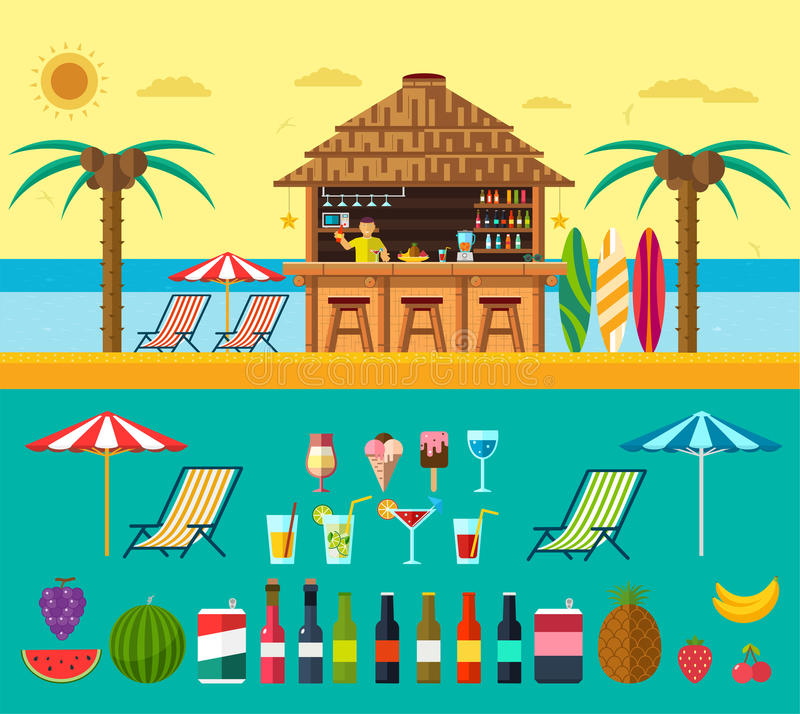 Tropical beach with a bar on the beach, summer vacation on the warm sand with clear water. Set of exotic drinks and fruits. Tropical beach with a bar on the stock illustration