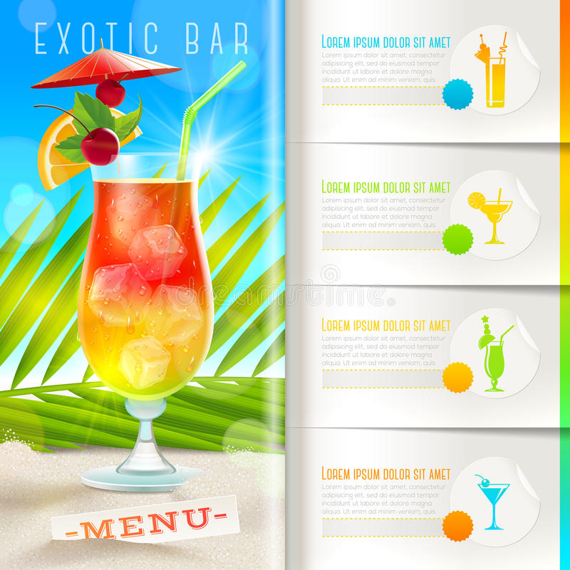 Tropical beach bar menu. Booklet template with infographic elements - Tropical beach bar menu stock illustration