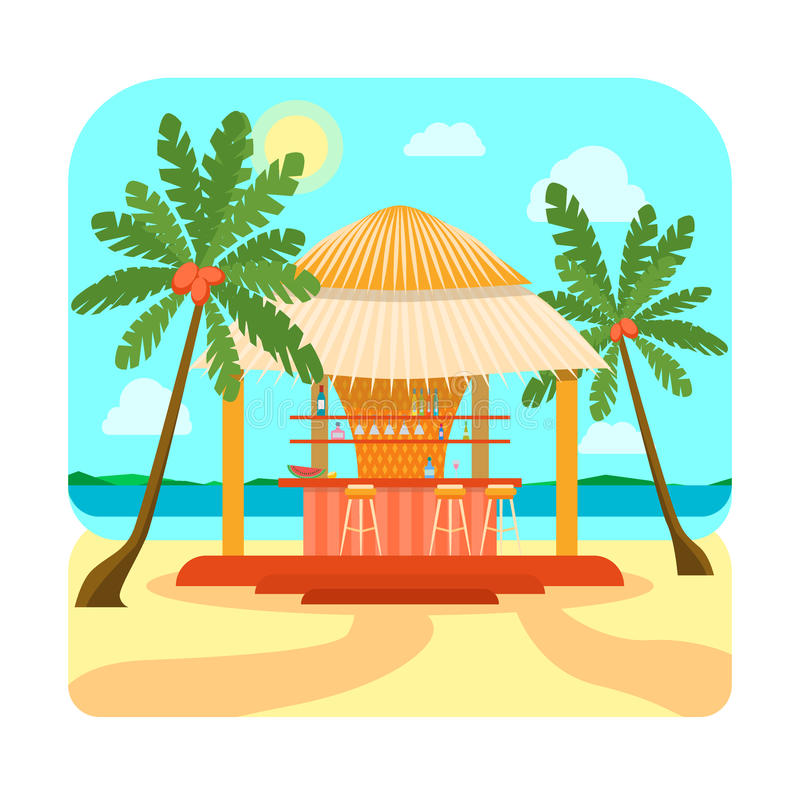 Tropical Beach Bar Summer Holiday or Vacation. Vector. Tropical Beach Bar Summer Holiday or Vacation. Flat Design Style. Vector illustration royalty free illustration