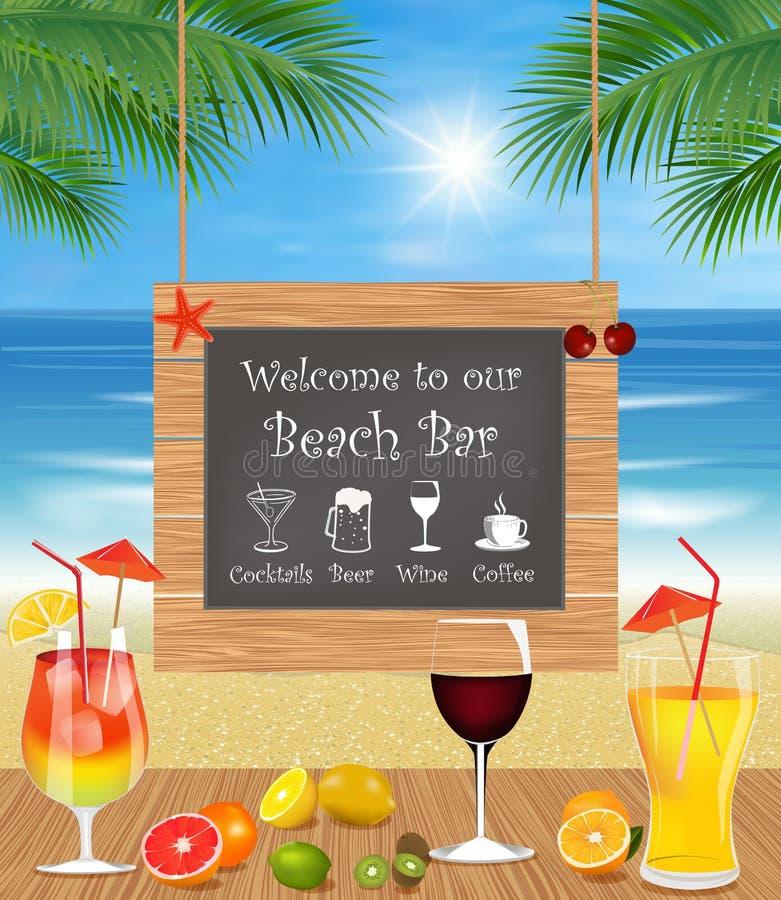 Tropical beach bar. Summer holidays on beach. Tropical beach bar with exotic cocktail, fresh fruits and palm trees. Drink Bar menu stock illustration