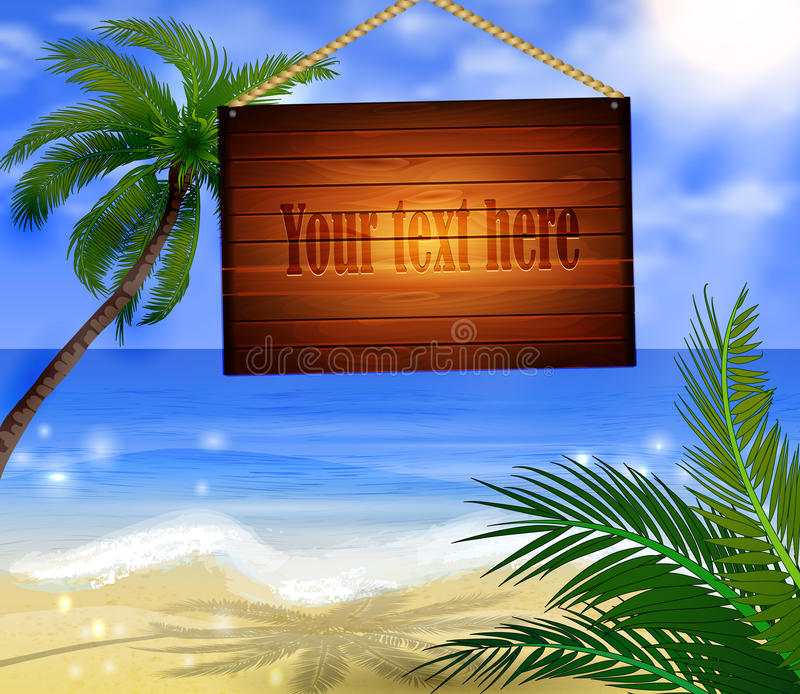 Tropical Beach Bar Wood Board Signpos. T on beach background vector illustration