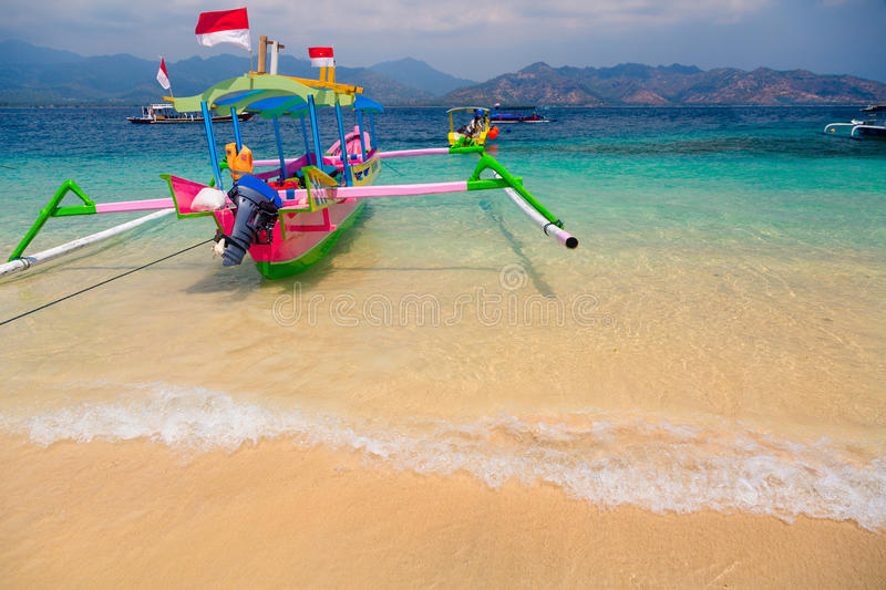 Tropical beach boats royalty free stock photography