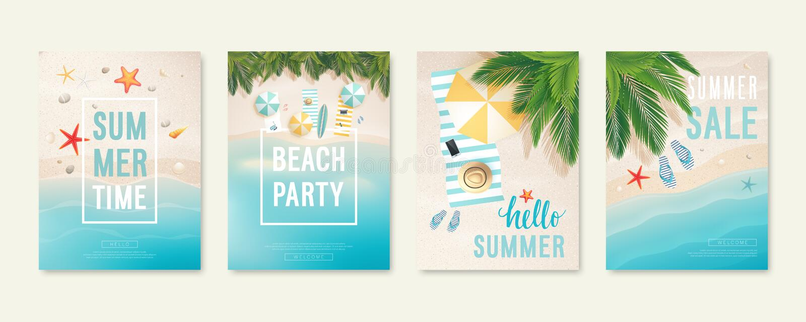 Tropical beach cards with sand, sea and palm trees. Summer flyers with starfish, flip flops and beach umbrellas. vector illustration