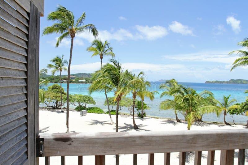 Tropical Beach, Caribbean, View from Deck. Tropical, Caribbean beach and ocean stock photography