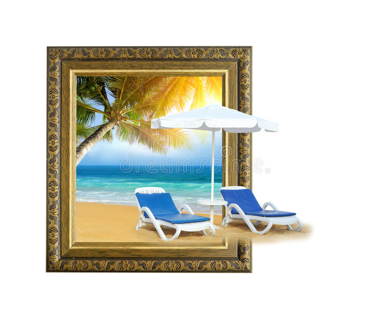Tropical beach with chair on sand and palm tree in frame with 3d effect. Tropical beach with chair on sand and palm tree in old wooden frame with 3d effect royalty free stock photo