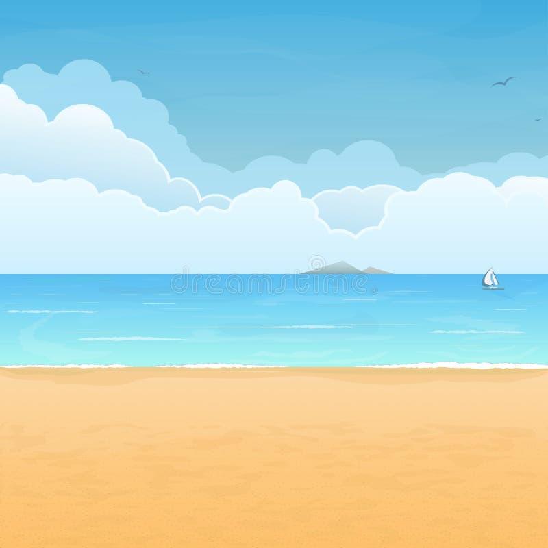 Island Beach Scenes: Tropical Beach And Clouds Scene Stock Vector