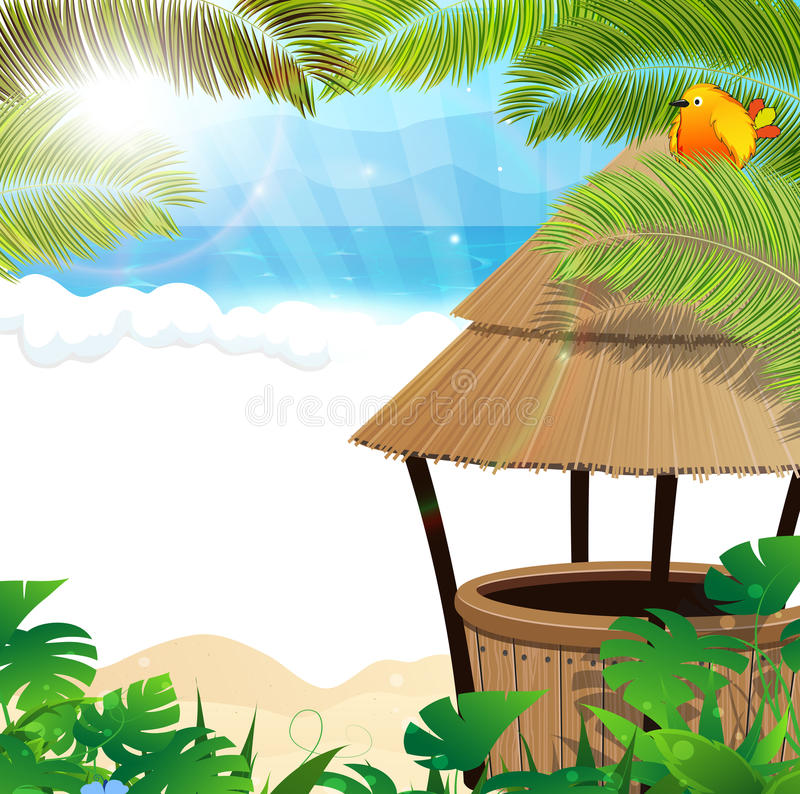 Tropical beach with cocktail Bar. Tropical sandy coast with palm branches and bungalow bar vector illustration