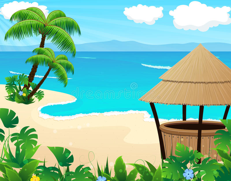 Tropical beach with cocktail Bar. Tropical sandy coast with palm trees and bungalow bar vector illustration