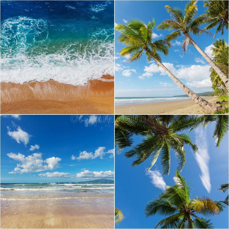 Tropical beach collage royalty free stock photos