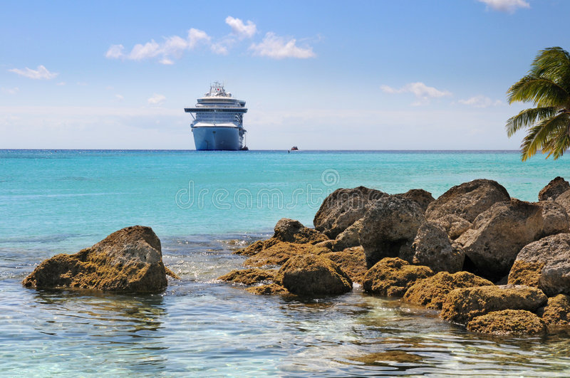 Tropical Beach With Cruise Ship royalty free stock images
