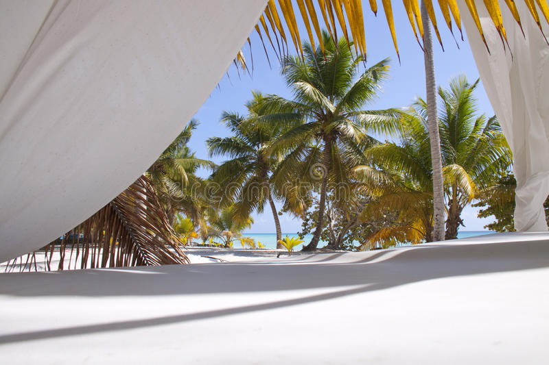 Tropical Beach With Curtains Stock Photo