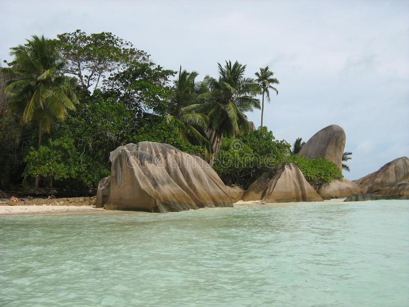 Tropical beach D'Argent stock photo