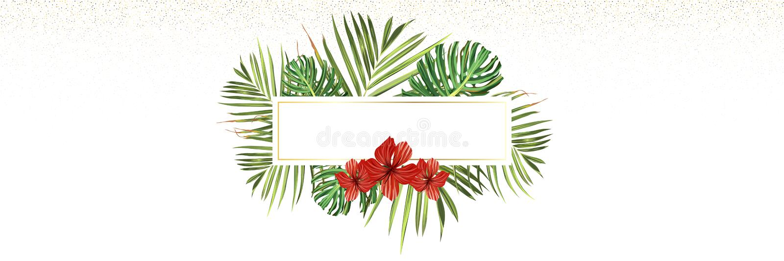 Tropical beach. Floral jungle palm background. Vector tropic illustration. Green tropical beach banner royalty free stock photos