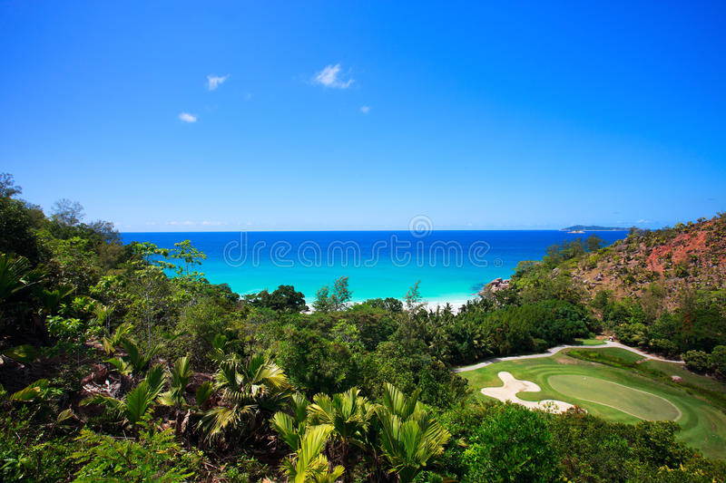 Tropical Beach And Golf Field Royalty Free Stock Image