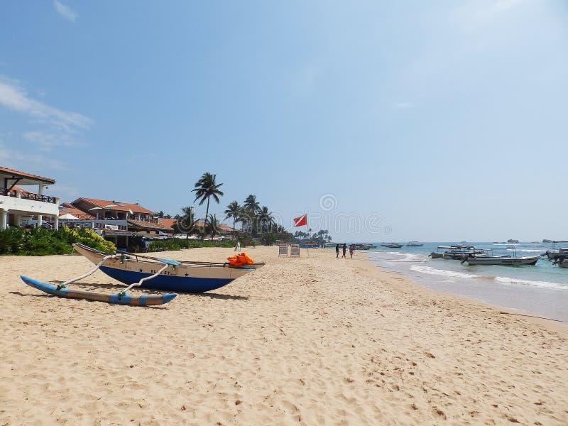 Tropical beach in Hikkaduwa. Sri Lanka royalty free stock photography