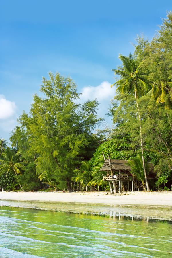 Tropical beach hut. Small jungle bungalow or hut on stilts on a deserted tropical beach stock images