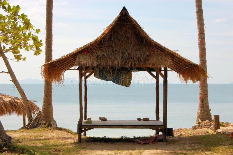 Tropical beach hut in Thailand. Tropical beach hut bungalow on Ko Jum island in Thailand royalty free stock images