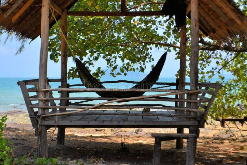 Tropical beach hut in Thailand. Tropical beach hut bungalow on Ko Jum island in Thailand stock photo