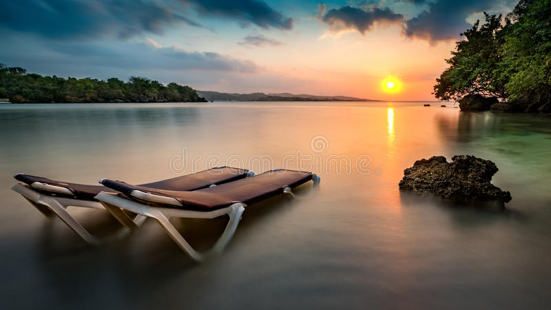 Tropical beach in Jamaica royalty free stock photos