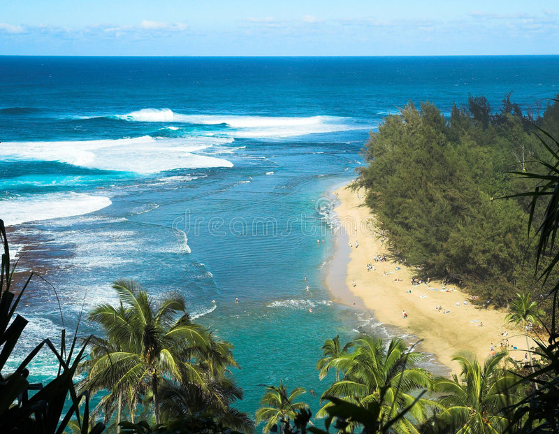 Tropical Beach in Kauai, Hawaii royalty free stock image