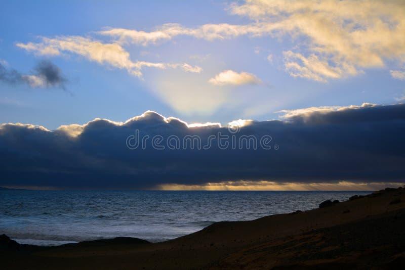 Tropical beach La Pared near Costa Calma at Fuerteventura, Canary Island, Spain stock photo