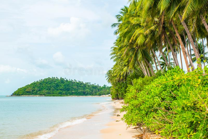 Tropical beach Lipa Noi with palms, Koh Samui Island, Thailand. Tropical beach Lipa Noi with palms in the Koh Samui Island in Thailand stock photo