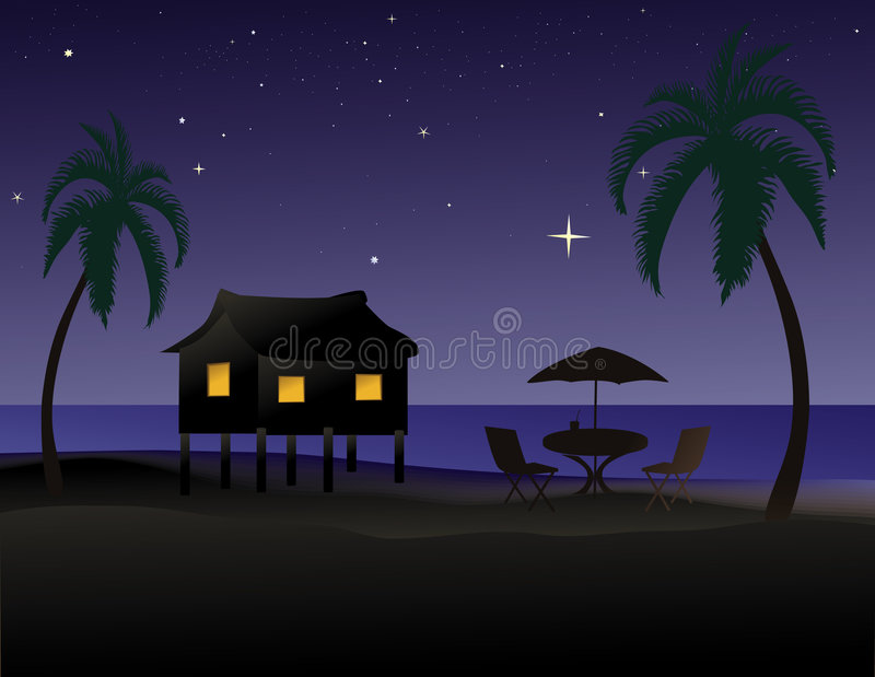 Download Tropical beach at night stock vector. Illustration of shore - 4348923