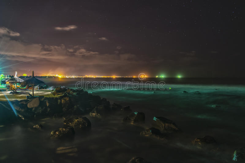 Tropical Island Beach Ambience Sound: Tropical Beach At Night With City Lights In Background