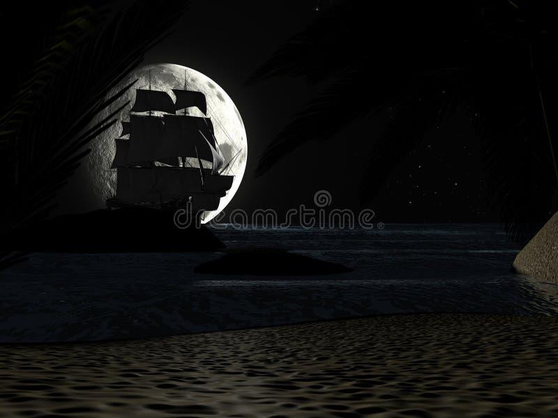 Tropical Beach at Night Moonlight, with Sailboat. stock photos