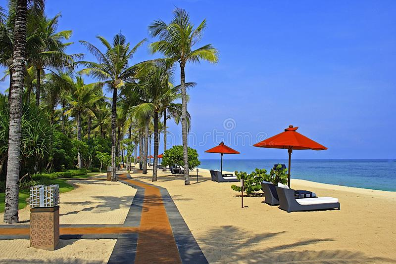 Tropical beach in Nusa Dua, Bali. Tropical hotel beach in Nusa Dua, Bali, Indonesia stock image