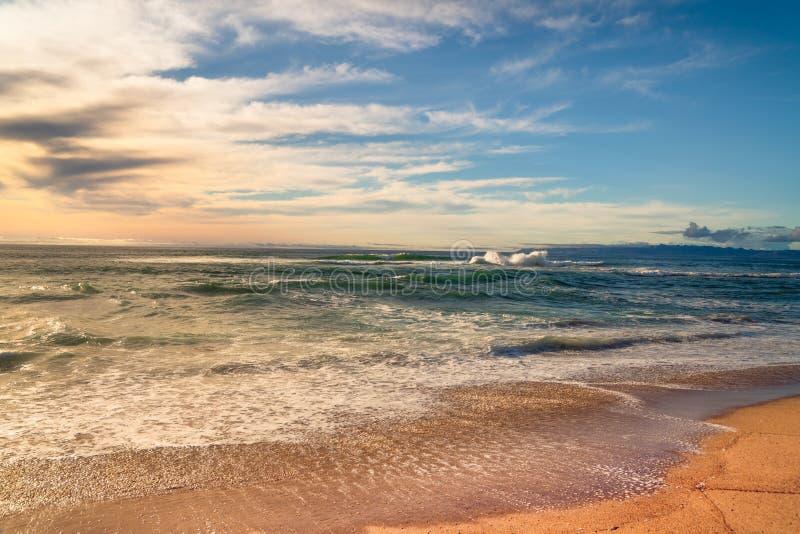 Tropical Sand Beach and Beautiful Cloudy Blue Sky stock photo