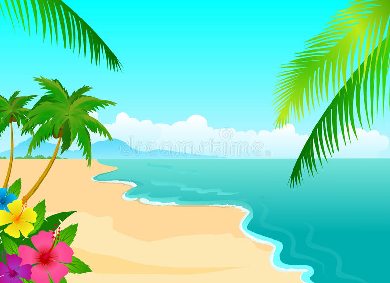 Tropical beach. With palm leaf and hibiscus flowers