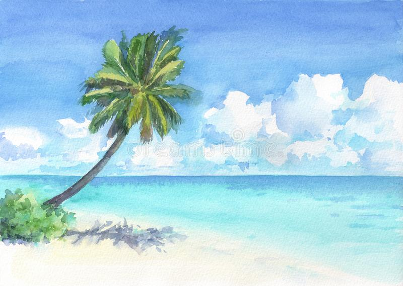 Tropical beach with palm tree. Watercolor hand drawn illustration. stock illustration