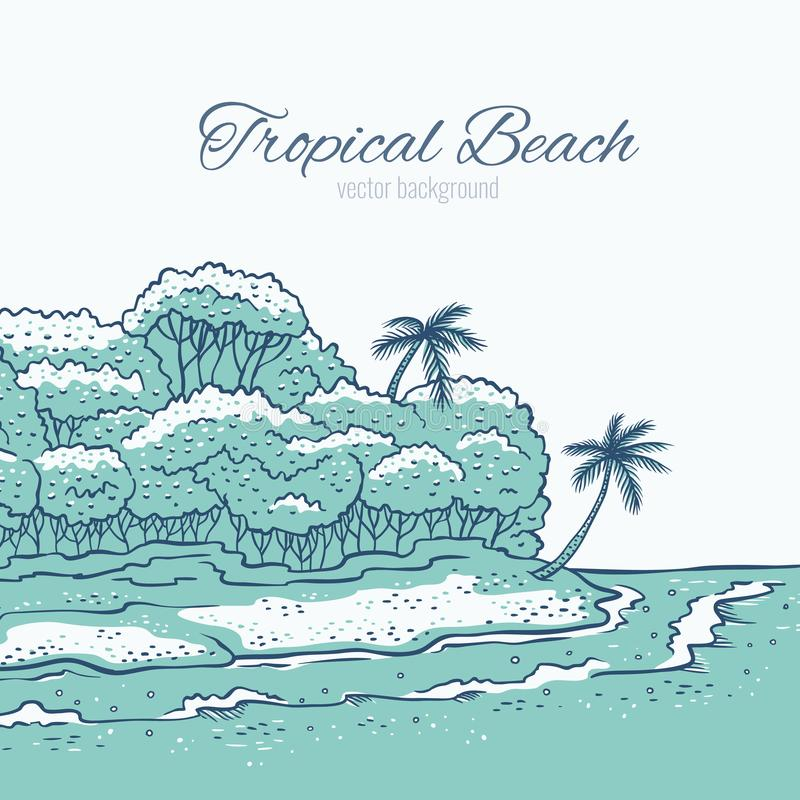 Tropical Beach And Peaceful Ocean: Relax On A Tropical Island Stock Vector. Illustration Of