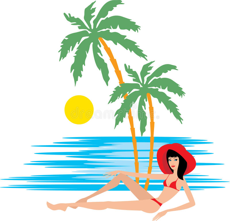 Tropical beach with palm trees and woman royalty free illustration