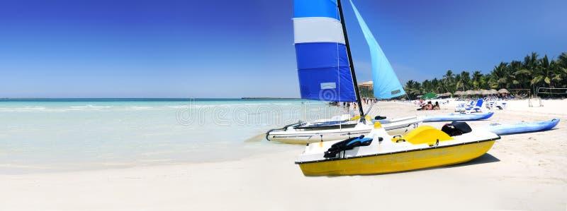 Tropical beach panorama stock image