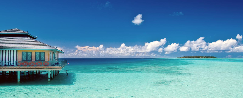 Tropical beach panorama stock photo