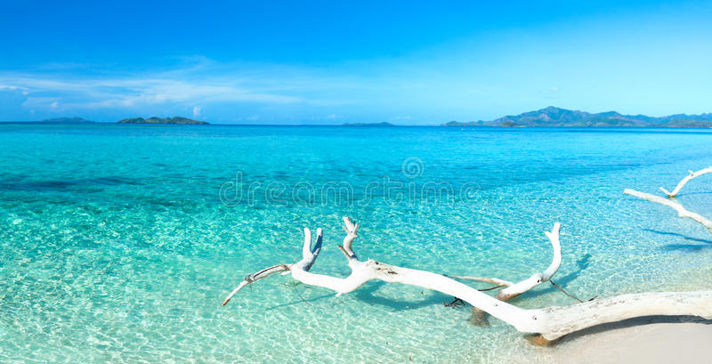 Tropical beach panorama stock images