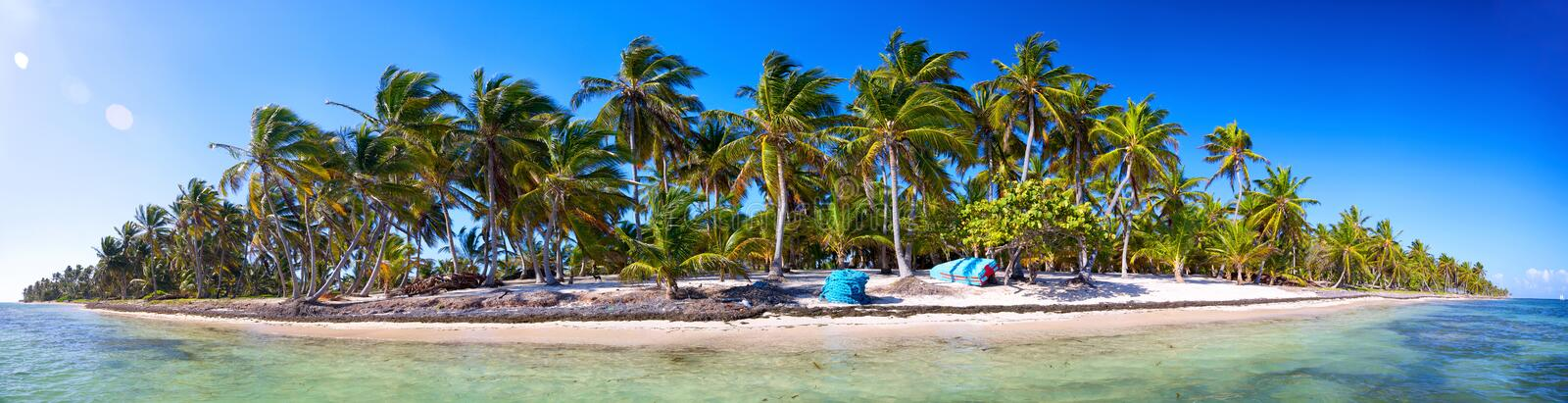 Tropical beach panorama stock image