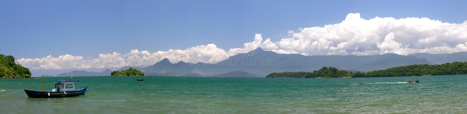 Tropical beach panoramic royalty free stock photography